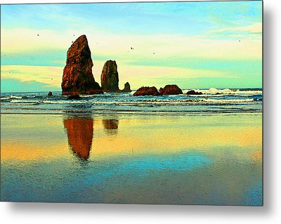 Sunrise  The Needles At Cannon Beach Metal Print by Margaret Hood