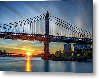Sunrise Under The Manhattan Bridge Metal Print