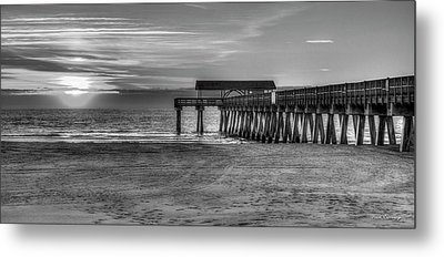 Metal Print featuring the photograph Suns Up Tybee Pier Bw Tybee Island Georgia Art by Reid Callaway
