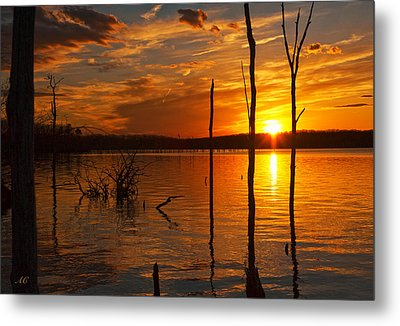 Metal Print featuring the photograph sunset @ Reservoir by Angel Cher