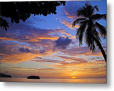 Sunset 2-st Lucia Metal Print by Chester Williams