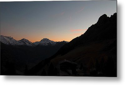 Sunset Afterglow In The Mountains Metal Print by Ernst Dittmar