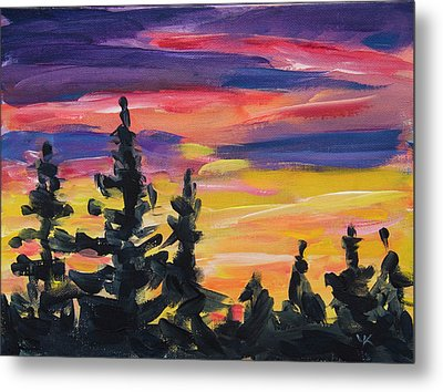 Metal Print featuring the painting Sunset Alaska by Yulia Kazansky