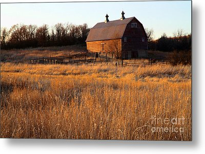 Sunset And Barn Metal Print by Edward R Wisell