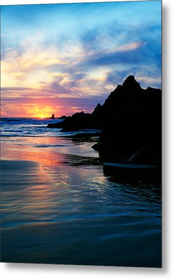 Sunset And Clouds Over Crescent Beach Metal Print by Panoramic Images