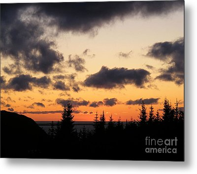 Metal Print featuring the photograph Sunset And Dark Clouds by Barbara Griffin