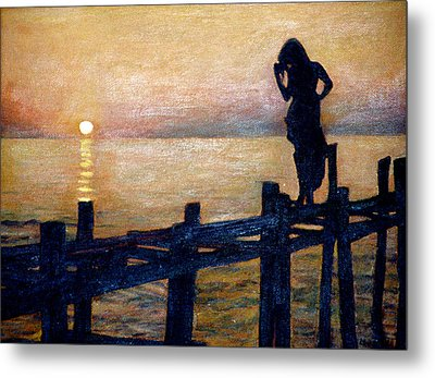 Sunset And Girl Metal Print