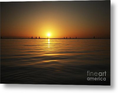 Sunset And Sailboats Metal Print by Brandon Tabiolo - Printscapes