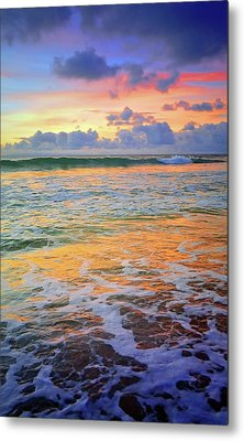Metal Print featuring the photograph Sunset And Sea Foam by Tara Turner