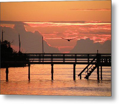 Metal Print featuring the photograph Sunset And The Fishing Dock by Rosalie Scanlon