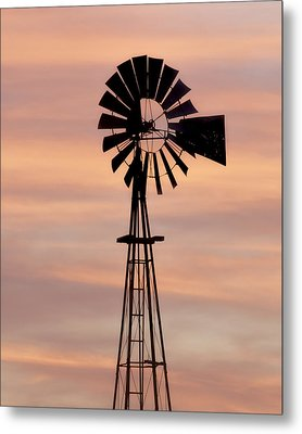 Sunset And Windmill 06 Metal Print