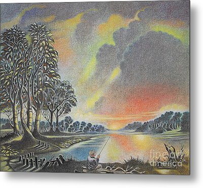 Sunset Angler Metal Print