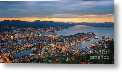 Sunset At Bergen As Seen From Mount Floyen, Norway. Metal Print by Henk Meijer Photography