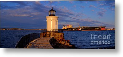 Sunset At Bug Light Lighthouse 2 Metal Print
