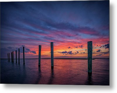 Sunset At Cedar Beach Marina Metal Print by Rick Berk