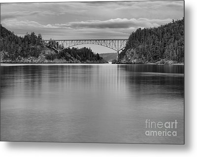 Sunset At Deception Pass - Black And White Metal Print by Adam Jewell