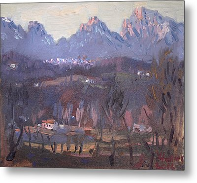 Sunset At Dolomites Belluno Metal Print