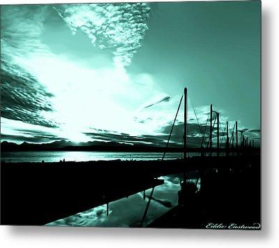 Sunset At Edmonds Washington Boat Marina 1 Metal Print by Eddie Eastwood