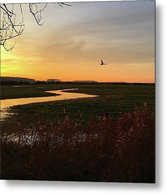 Sunset At Holkham Today  #landscape Metal Print by John Edwards