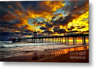 Sunset At Huntington Beach Pier Metal Print by Peter Dang