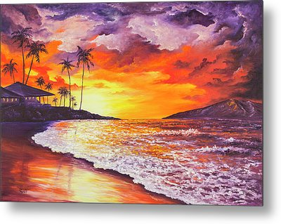 Metal Print featuring the painting Sunset At Kapalua Bay by Darice Machel McGuire