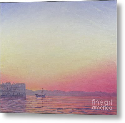 Sunset At Lake Palace, Udaipur Metal Print by Derek Hare