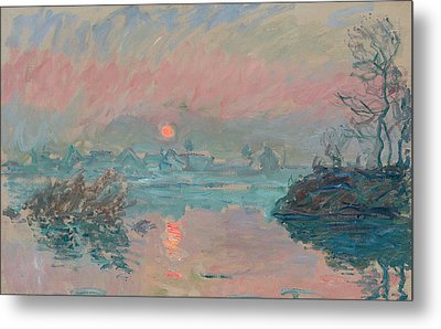Sunset At Lavacourt Metal Print by Claude Monet