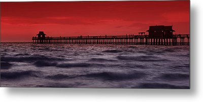 Sunset At Naples Pier Metal Print by Melanie Viola