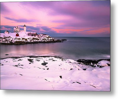 Sunset At Nubble Lighthouse In Maine In Winter Snow Metal Print by Ranjay Mitra