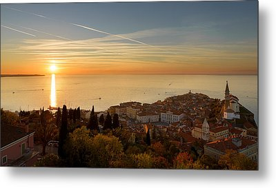 Sunset At Piran Metal Print by Robert Krajnc