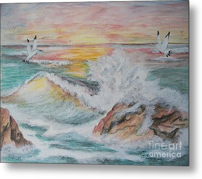 Sunset At Sea Metal Print by Carol Grimes