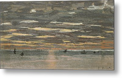 Sunset At Sea Metal Print by Claude Monet
