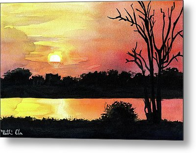 Metal Print featuring the painting Sunset At Shire River In Malawi by Dora Hathazi Mendes