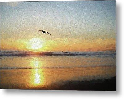 Sunset At The Beach Metal Print by Ernie Echols