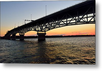 Sunset At The Coleman Bridge Metal Print