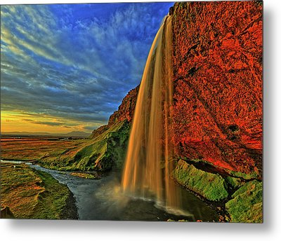 Metal Print featuring the photograph Sunset At The Falls by Scott Mahon