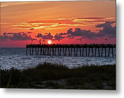 Metal Print featuring the photograph Sunset At The Fishing Pier   -   Fishingpier121662 by Frank J Benz