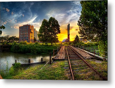 Sunset At The Imperial Sugar Factory Smoke Stacks Early Stage Landscape Metal Print