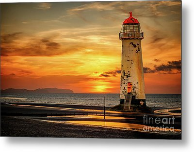 Sunset At The Lighthouse Metal Print by Adrian Evans