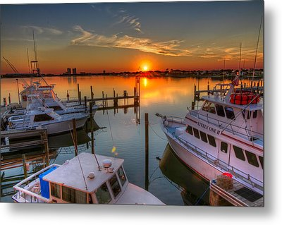 Sunset At The Marina Metal Print by Tim Stanley