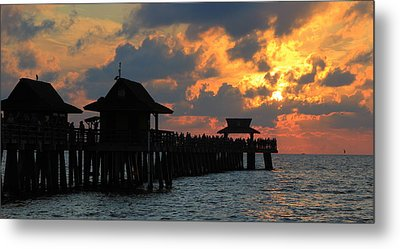 Sunset At The Naples Pier Metal Print