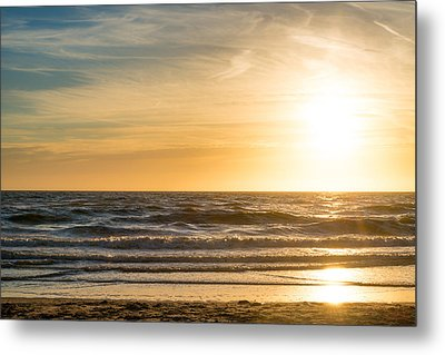 Metal Print featuring the photograph sunset at the North Sea by Hannes Cmarits