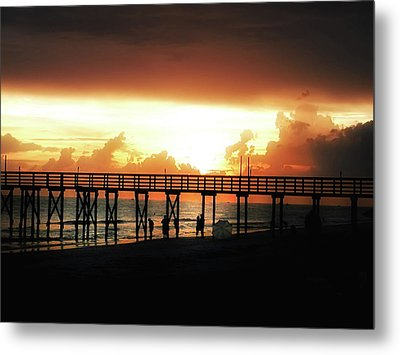 Sunset At The Pier Metal Print by Bill Cannon