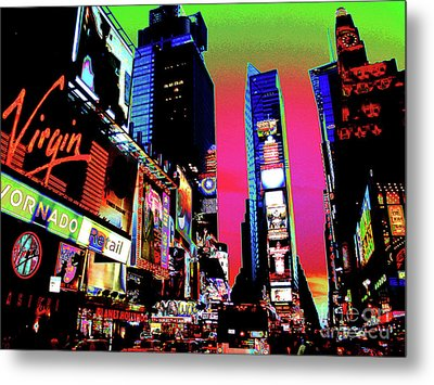 Sunset At Times Square Metal Print