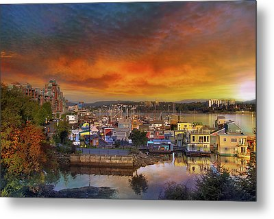Sunset At Victoria Inner Harbor Fisherman's Wharf Metal Print by David Gn