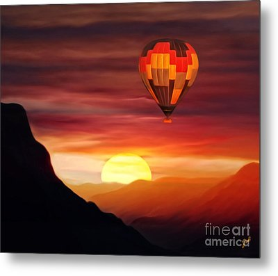 Sunset Balloon Ride Metal Print by Zedi