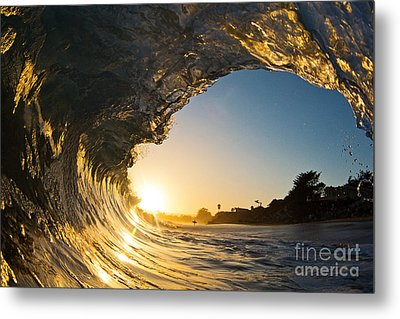 Metal Print featuring the photograph Sunset Barrel Wave On Beach by Paul Topp
