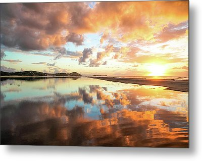 Sunset Beach Reflections Metal Print