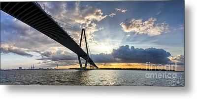 Sunset Behind Arthur Ravenel Jr Bridge Charleston South Carolina Metal Print by Dustin K Ryan