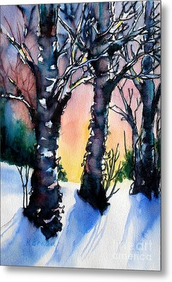 Sunset Birches On The Rise Metal Print by Kathy Braud